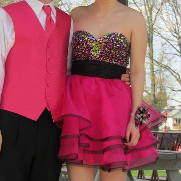 Hot Pink Short Formal Dress